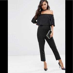ASOS Black Off Shoulder Jumpsuit w/ Ruffle Bardot